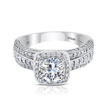 Ritani 2ct Round CZ Center Cushion Diamond Halo Semi-Mount Engagement Ring