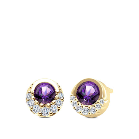 Diamond & Amethyst Half-Bezel Earrings in 14K