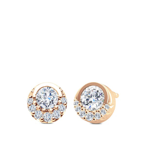 Diamond Half-Bezel Earrings in 14K