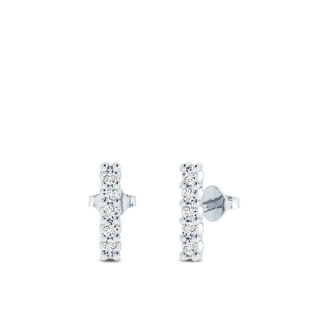 Diamond Bar Earrings in 14K