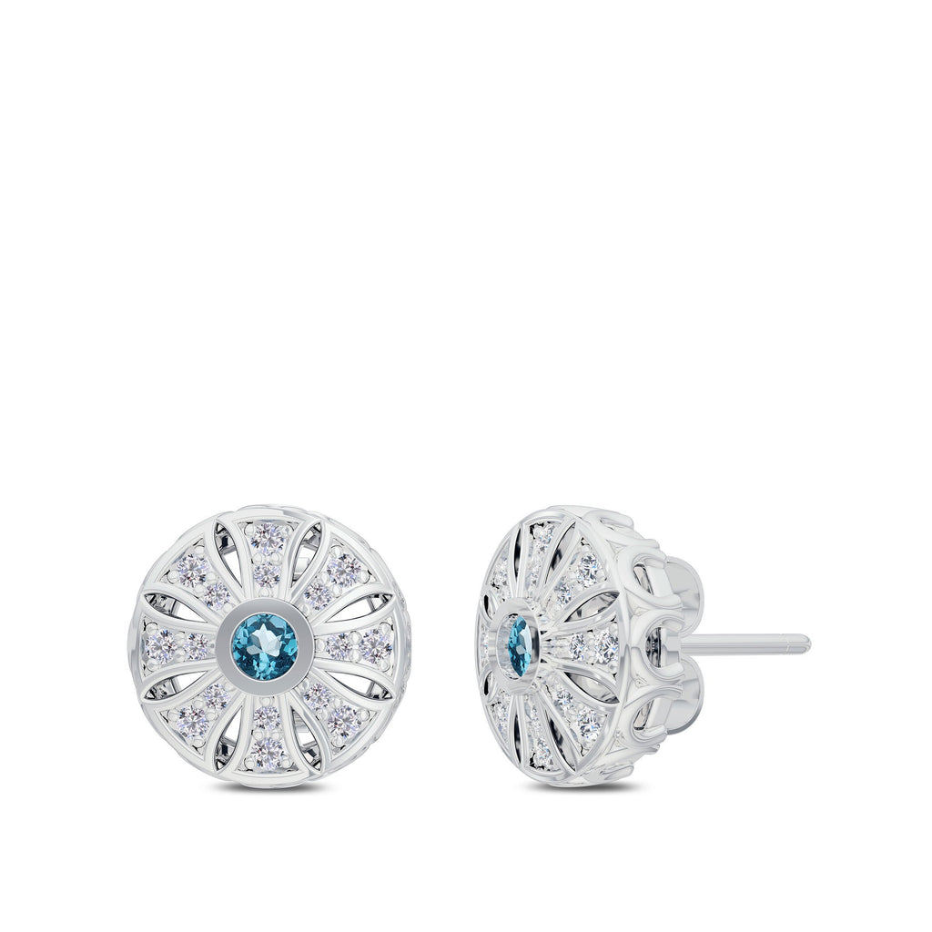 Diamond & Aquamarine Milgrain Sun Stud Earrings in 14K