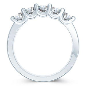 5 Diamonds Prong Finished Wedding Ring TCW 0.71 ct