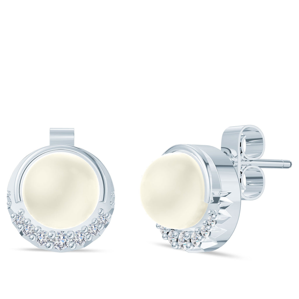 Diamond Crescent Half-Bezel Akoya Pearl Earrings in 14K Gold