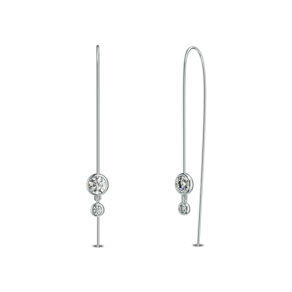 Double Diamond Single Earring in 14K Gold