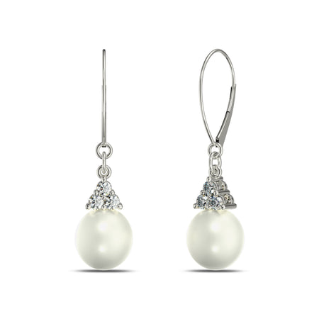 Akoya Pearl Diamond Dangle Earrings in 14K Gold