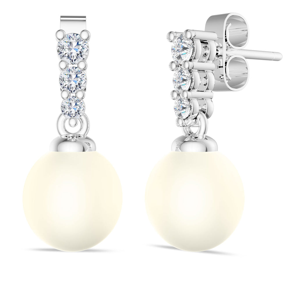 Diamond Bar Akoya Pearl Earrings in 14K Gold