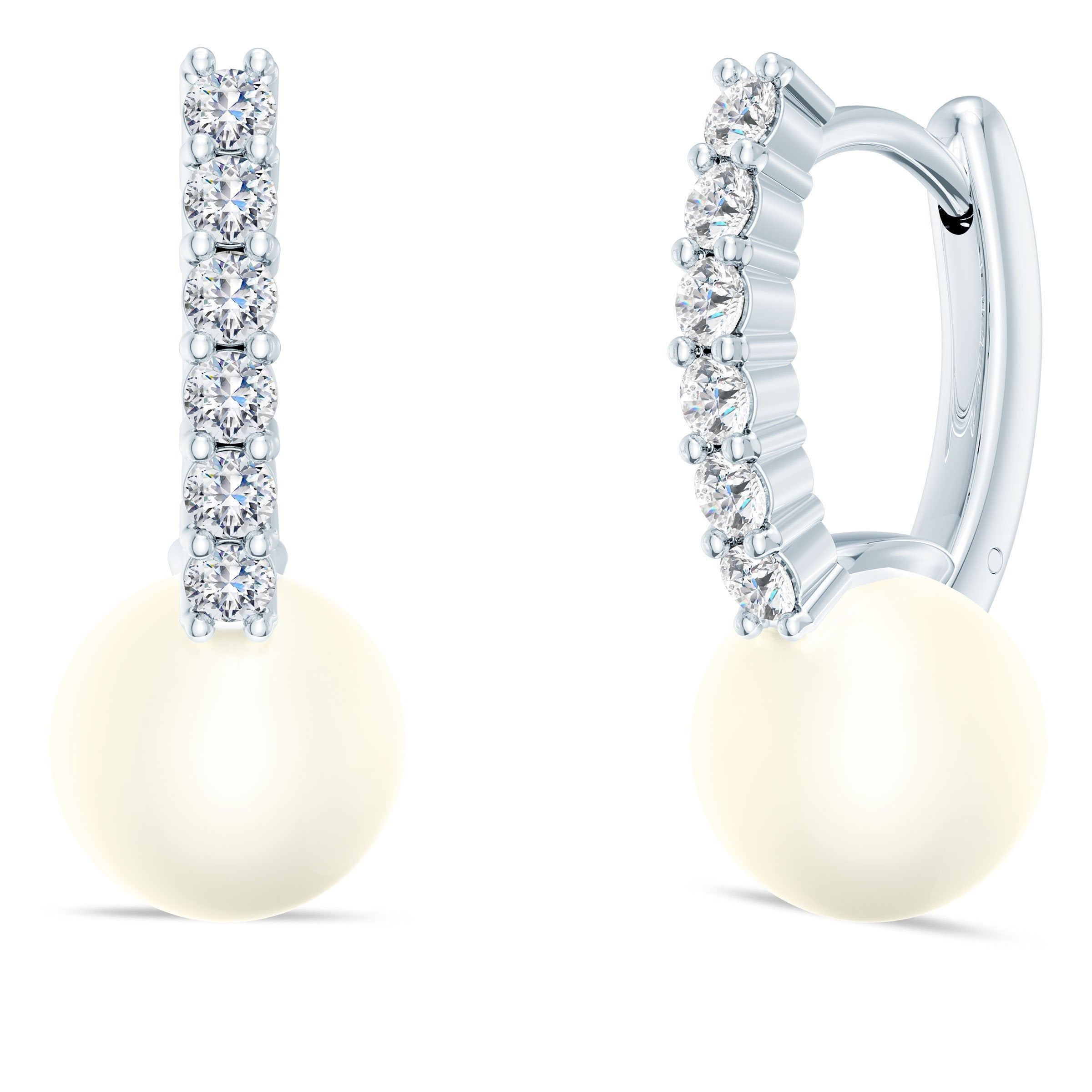 Akoya Pearl Diamond Earrings in 14K Gold