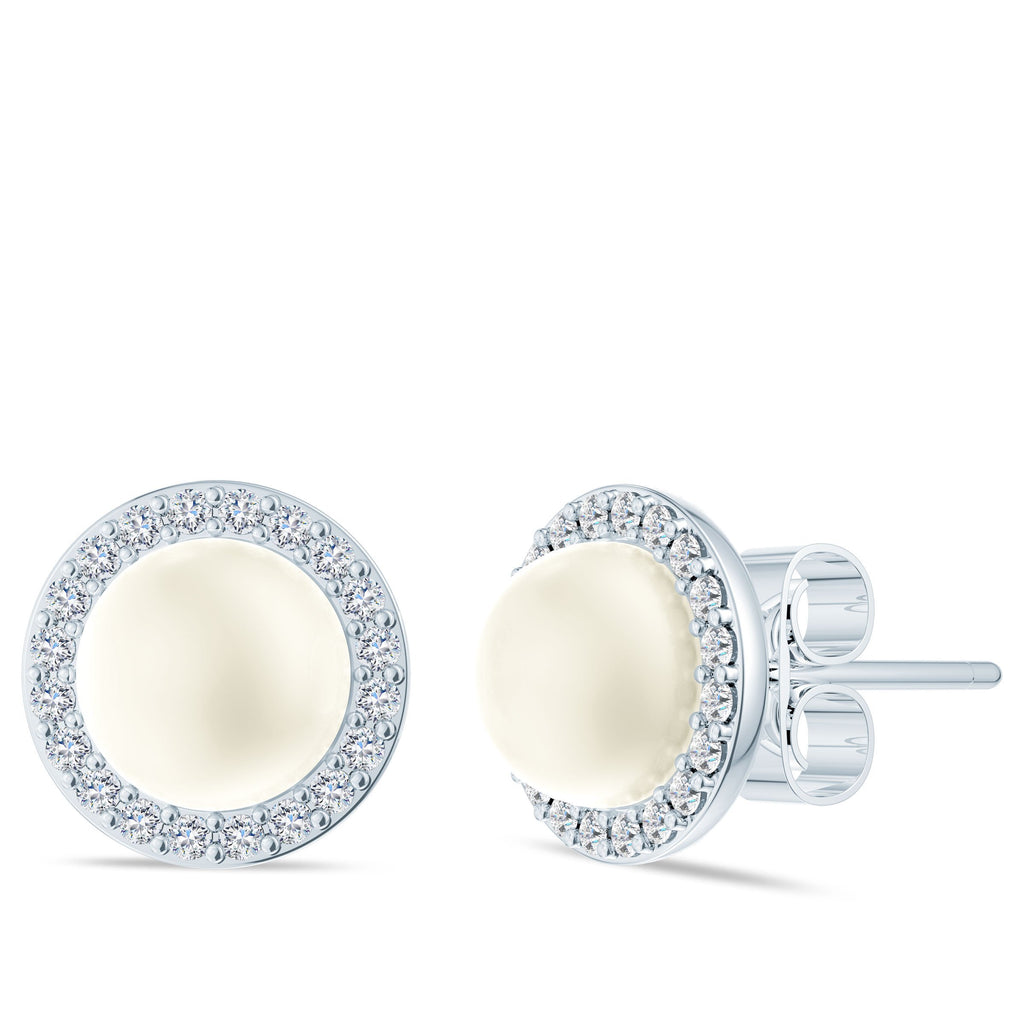 Halo Diamond Akoya Pearl Stud Earrings in 14K Gold