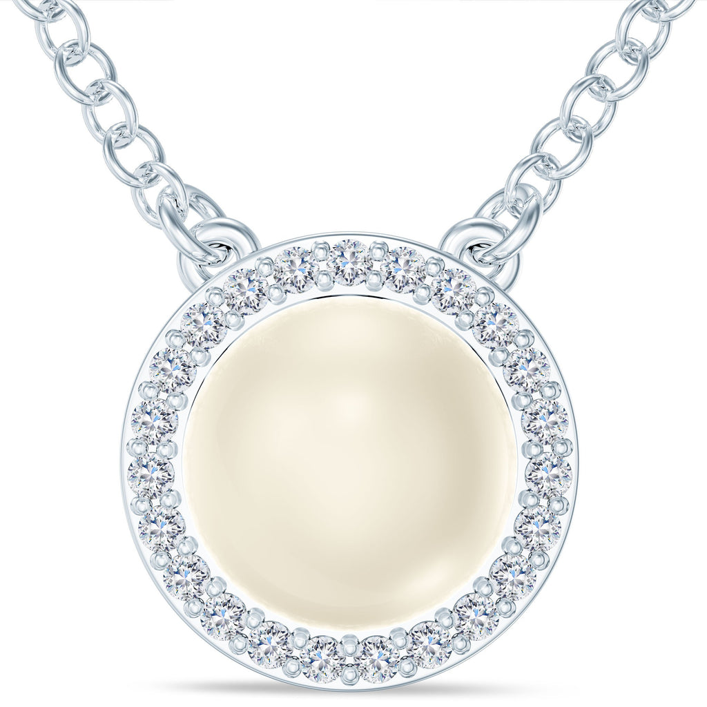 Akoya Pearl Diamond Halo Pendant in 14K Gold