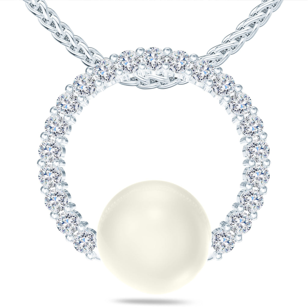 Akoya Pearl Diamond Circle of Love Necklace in 14K Gold