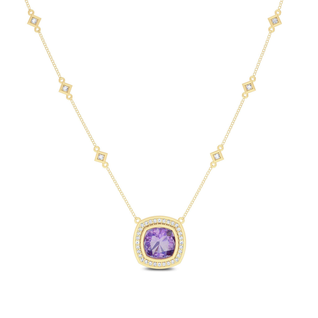 Diamond & Amethyst 6-Station Pendant in 14K Yelow Gold