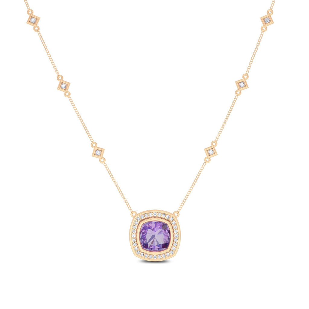 Diamond & Amethyst 6-Station Pendant in 14K Rose Gold