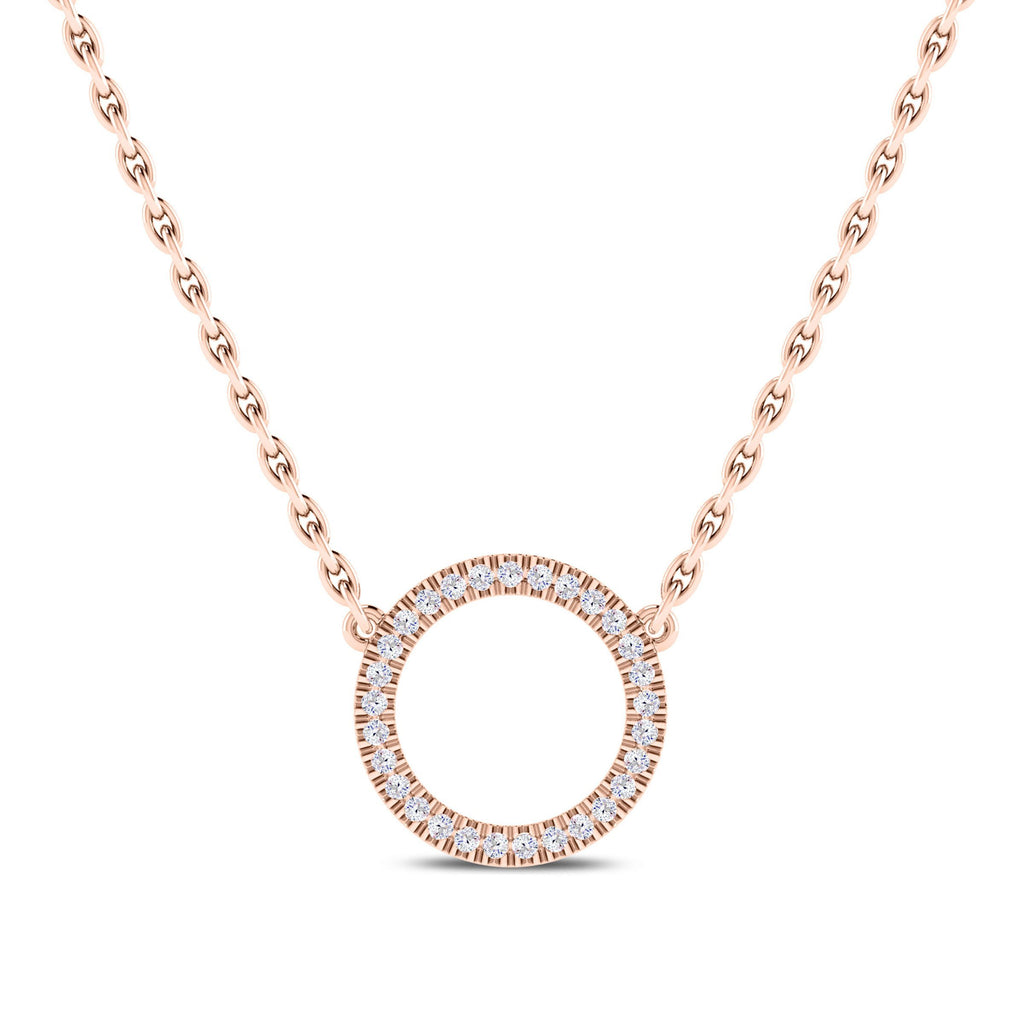 Diamond Circle Pendant in 14K Rose Gold