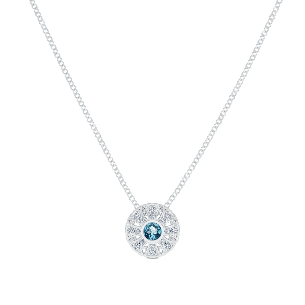 Diamond & Aquamarine Milgrain Sun Pendant in 14K