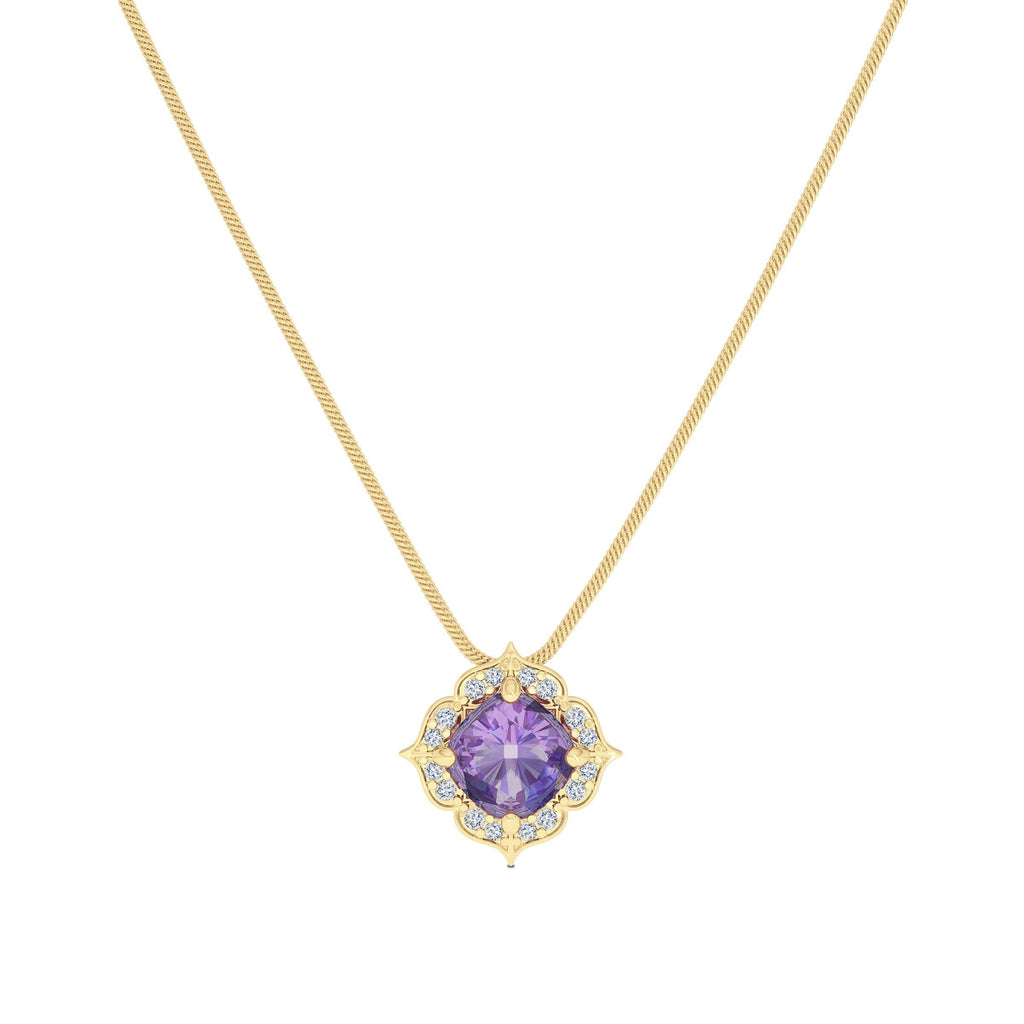 Diamond & Amethyst Rosebud Pendant in 14K Yellow Gold