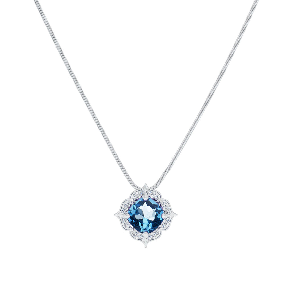 Diamond & Blue Topaz Pendant in 14K