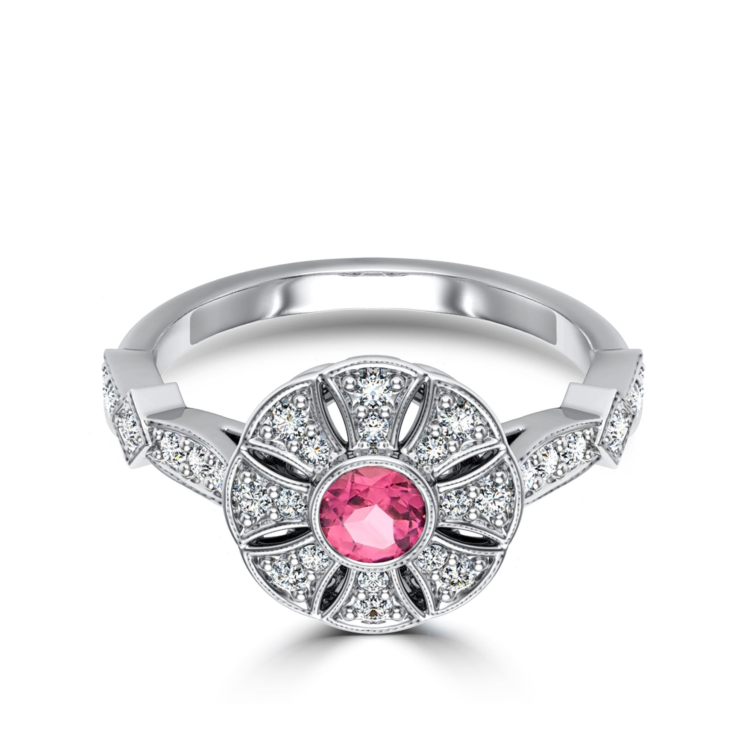 Pink Tourmaline & Diamond Flower Milgrain Ring in 14K White Gold