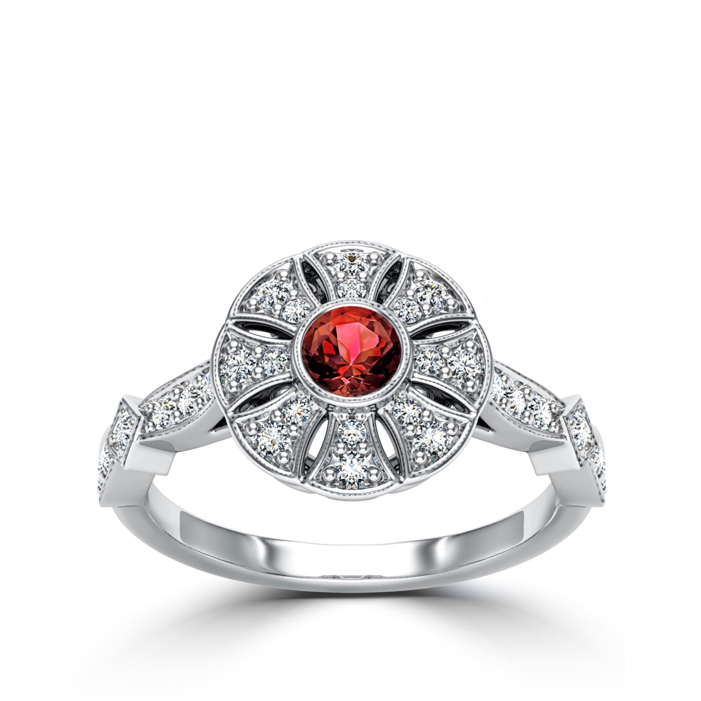 Ruby & Diamond Flower Milgrain Ring in 14K White Gold