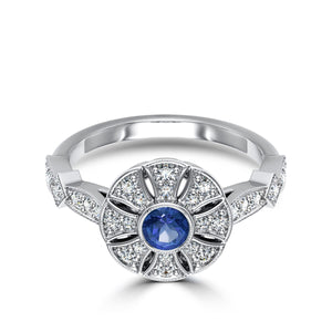 Sapphire & Diamond Flower Milgrain Ring in 14K White Gold