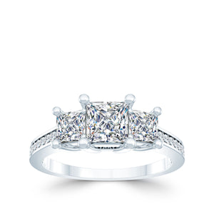 3-Stone Princess Cut Engagement Ring