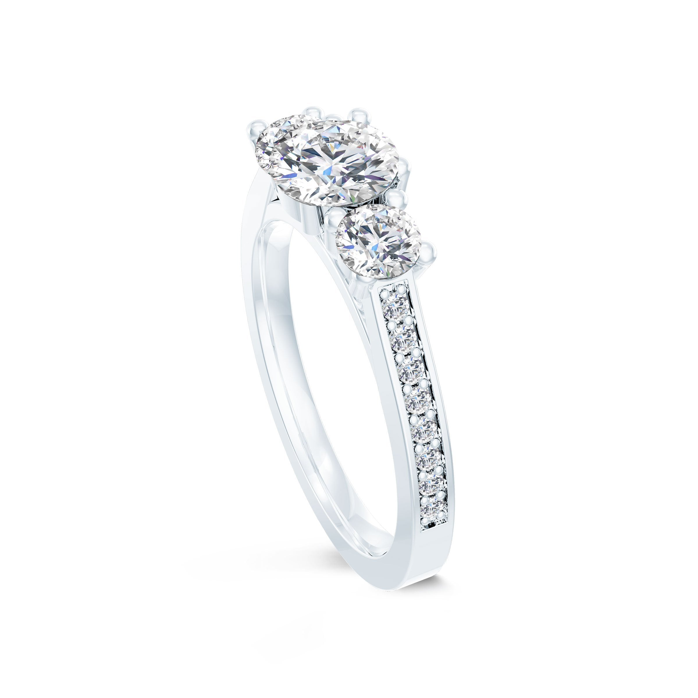 3-Stone Pavé Engagement Ring