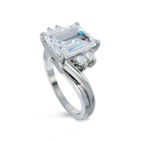 Emerald Cut Ring with Asymetrical Band