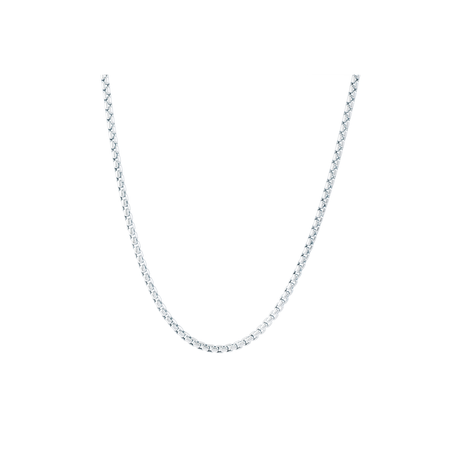 Long Box Chain Necklace in 14K White Gold