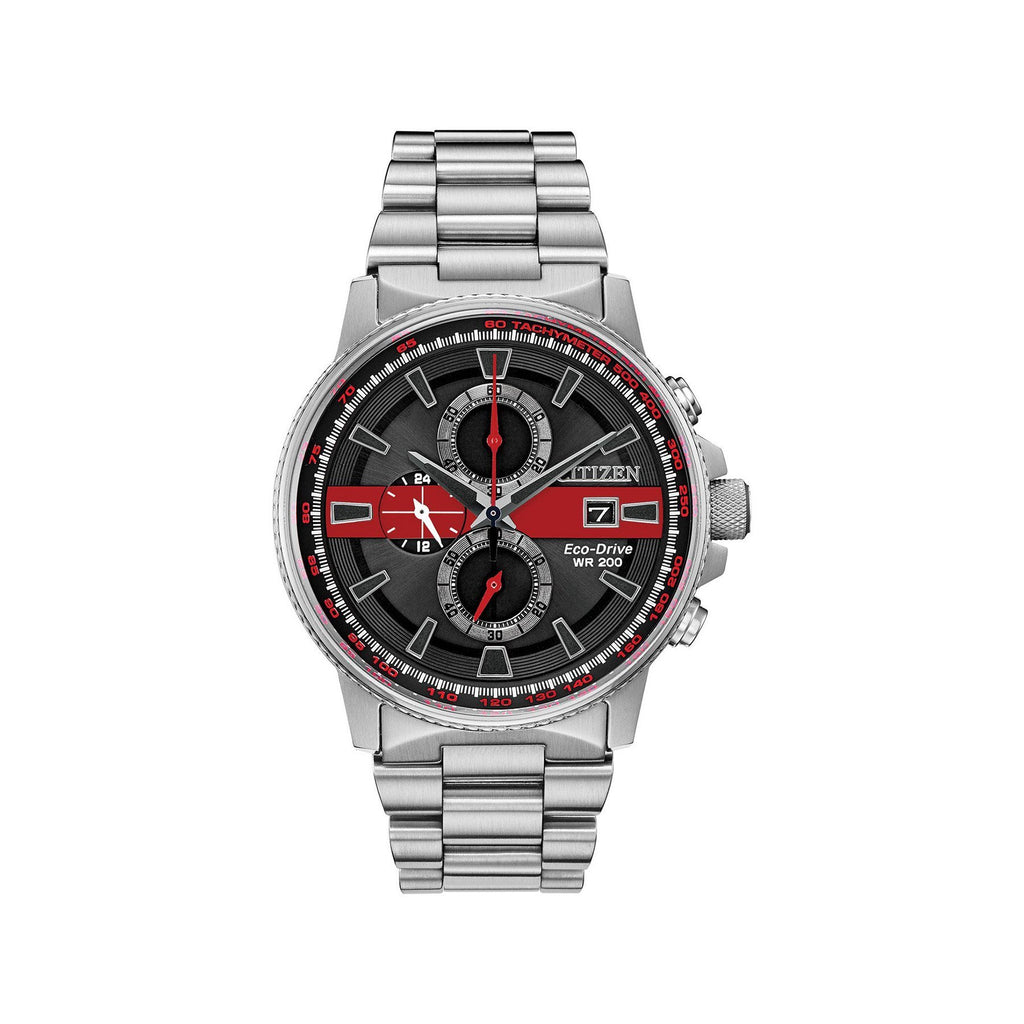 Citizen Men's Thin Red Line Watch Chronograph 200M WR Eco Drive