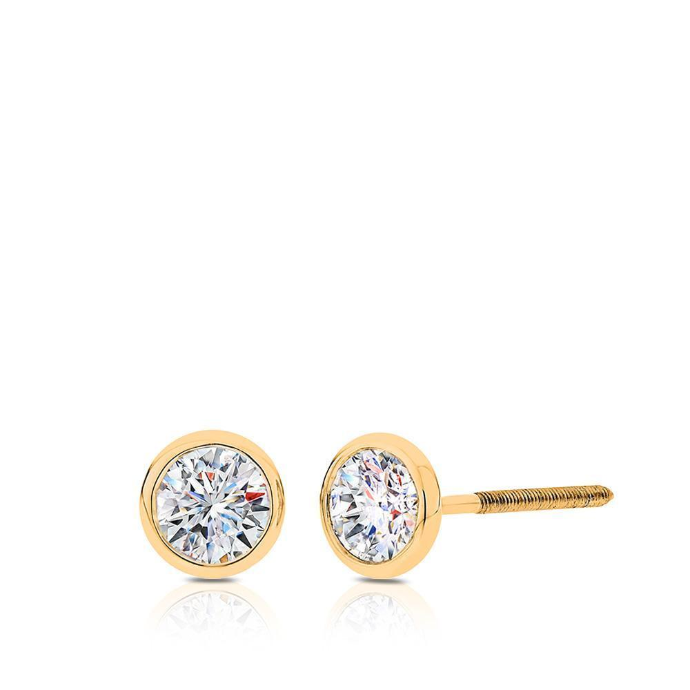 Diamond Bezel Stud Earrings in Yellow Gold