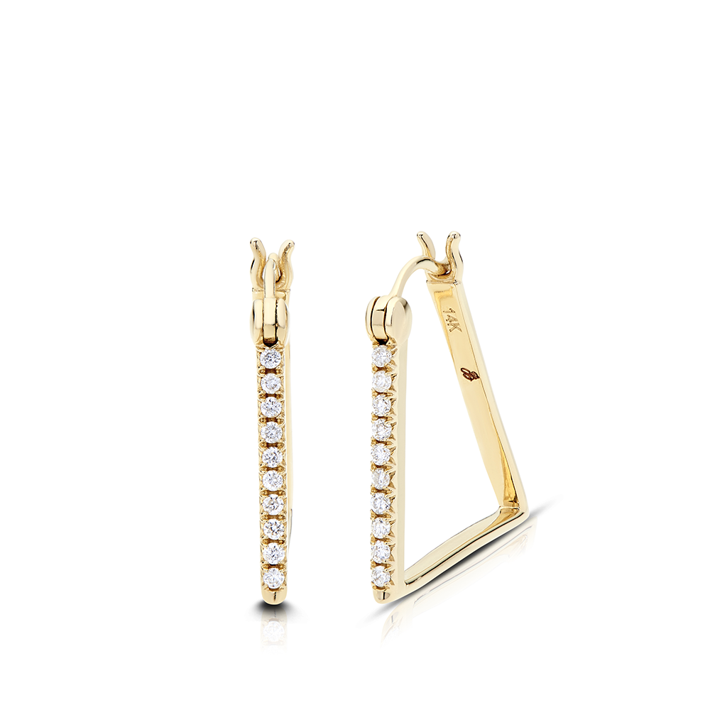 Diamond Geometric Earrings in 14K Yellow Gold