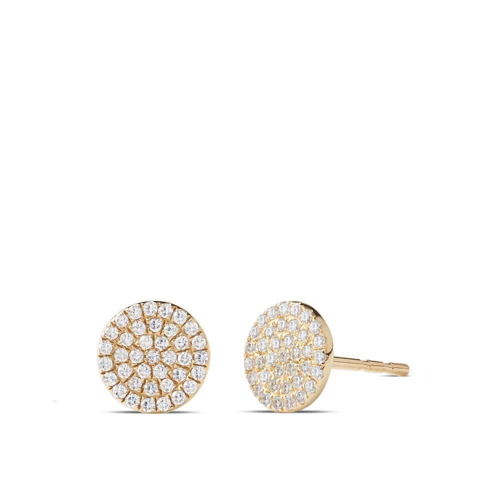 Diamond Pavé Stud Earrings in 14K Yellow Gold