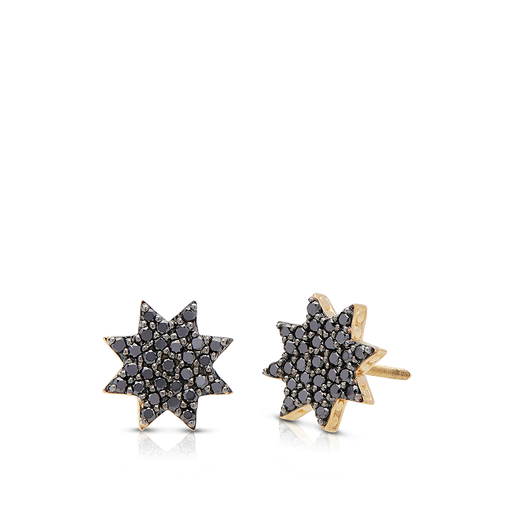 Black Diamond Starlight Stud Earrings in 14K Yellow Gold