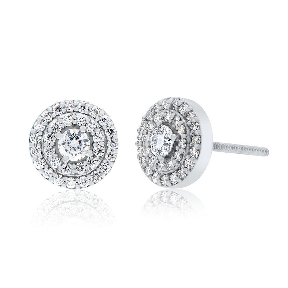 Splendeur Diamond Double Halo Stud Earrings in 14K Gold