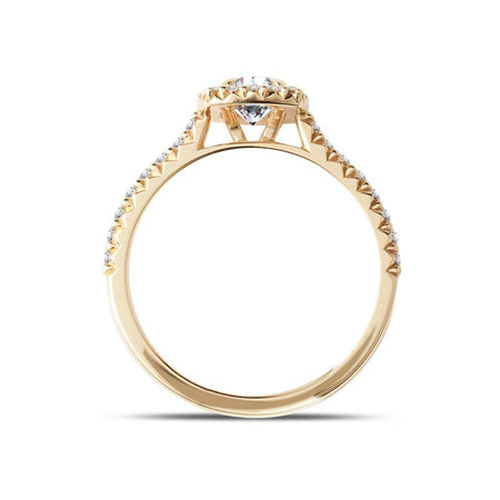 Diamond Halo Engagement Ring in Yellow Gold
