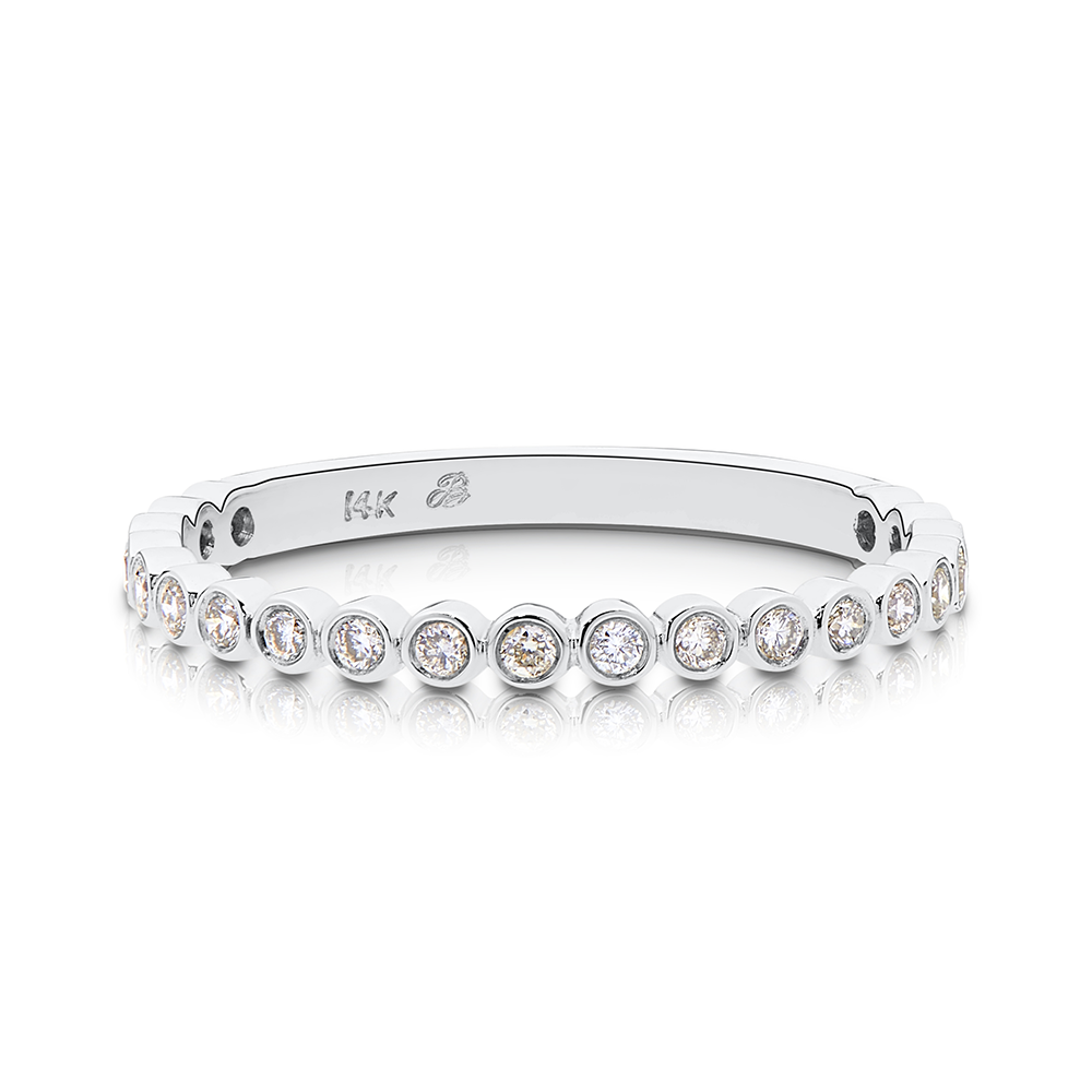 Diamond Bezel Stackable Ring in Sterling Silver