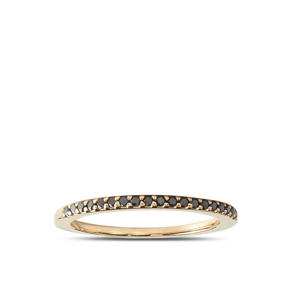 Black Diamond Stackable Ring in 14K Yellow Gold