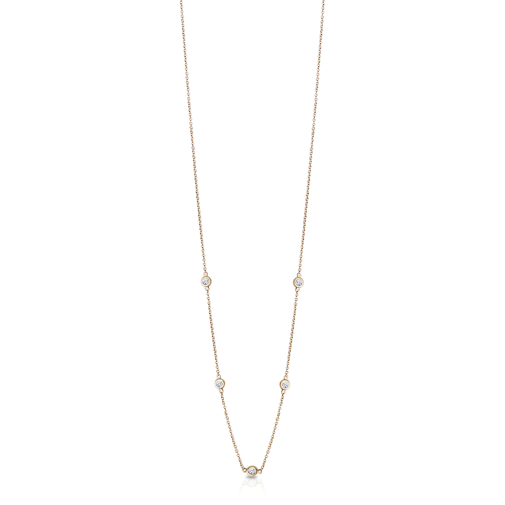 Diamond Dew Drop 5-Station Necklace in 14K Yellow Gold