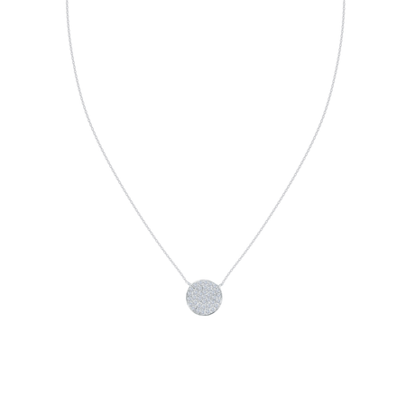 Diamond Pavé Circle Pendant in White Gold