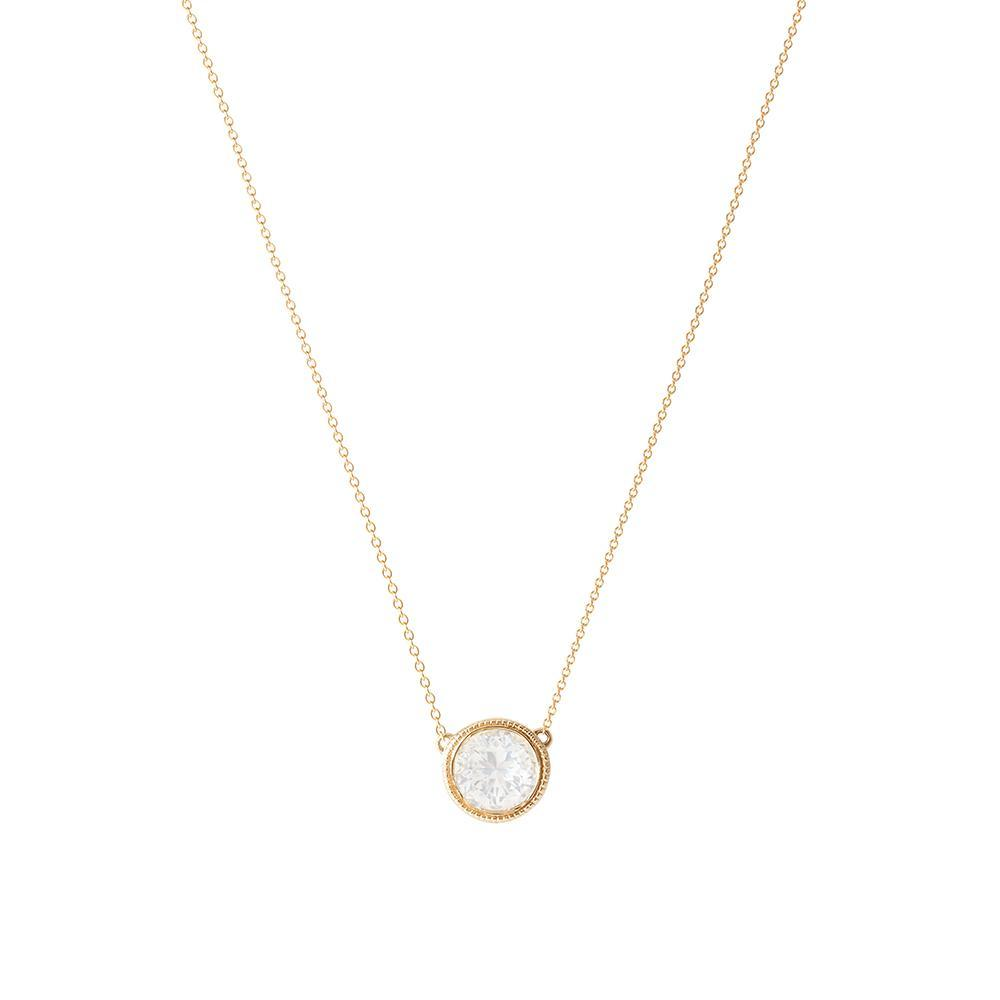 Dew Drop Bezel Pendant in 14K Yellow Gold