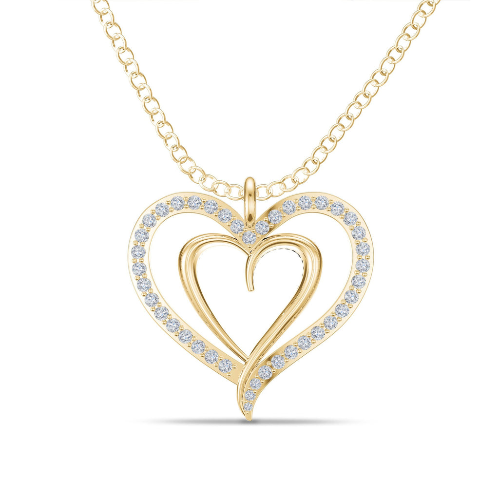 Double Heart Diamond Pendant in Yellow Gold