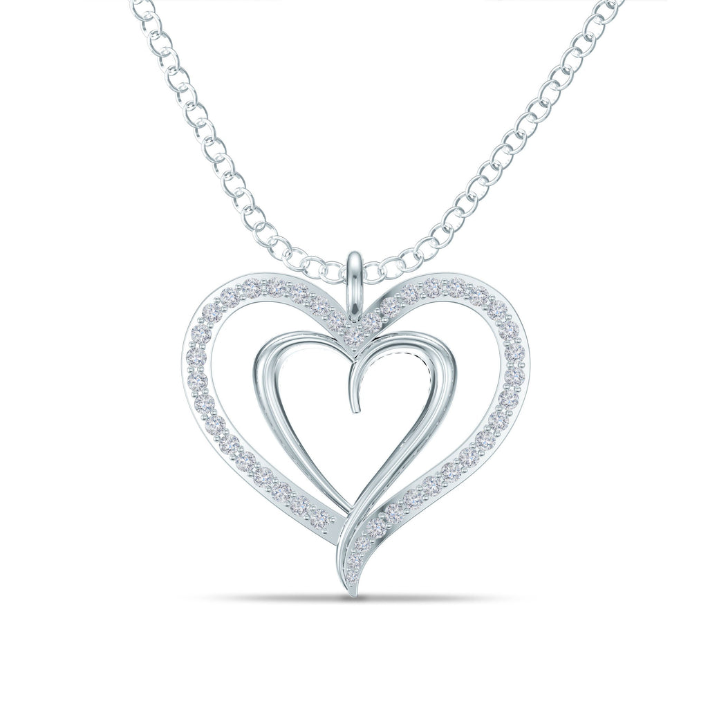Double Heart Diamond Pendant in White Gold
