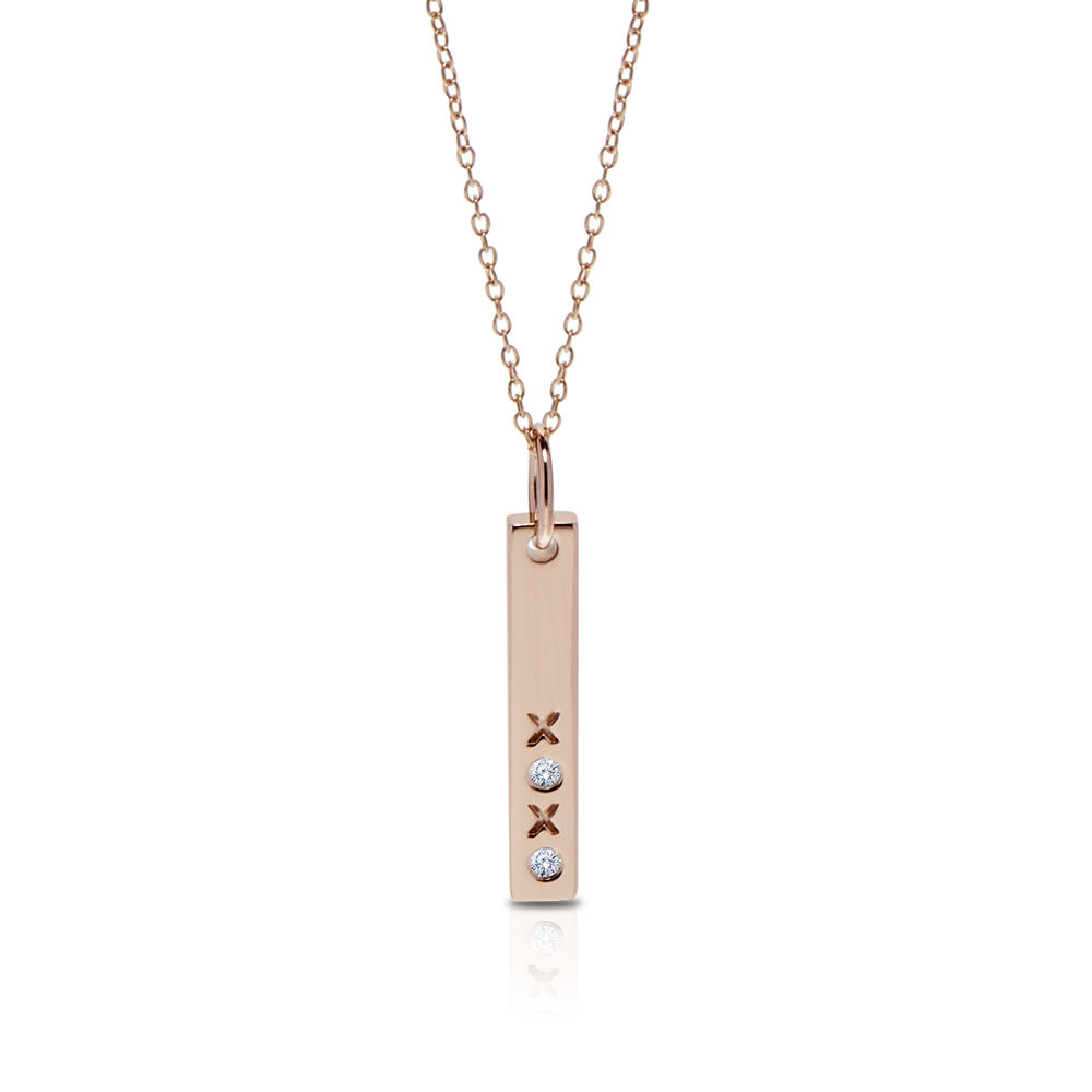 Diamond XOXO Bar Pendant Necklace in 14K Rose Gold