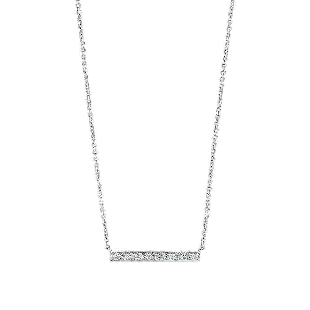 Diamond Bar Pendant Necklace in 14K White Gold