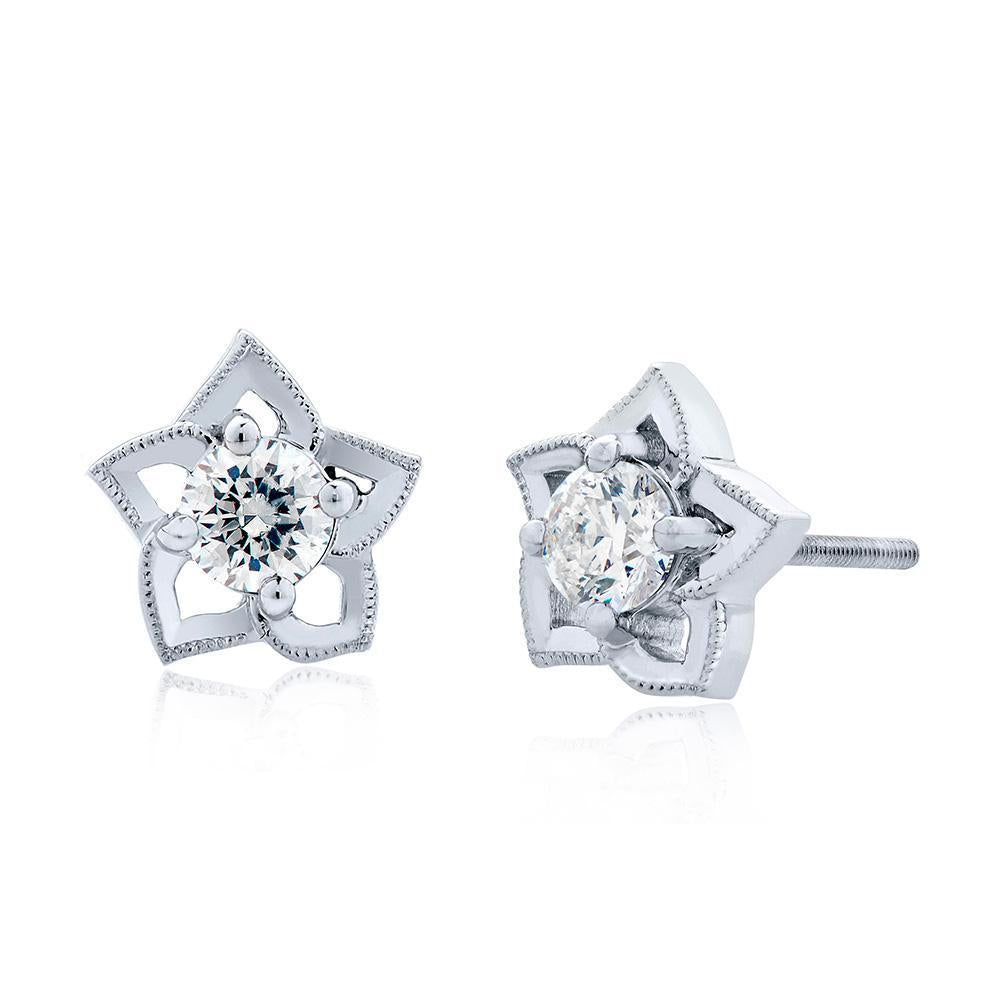 Etoile Diamond Open Stud Earrings in 14K Gold