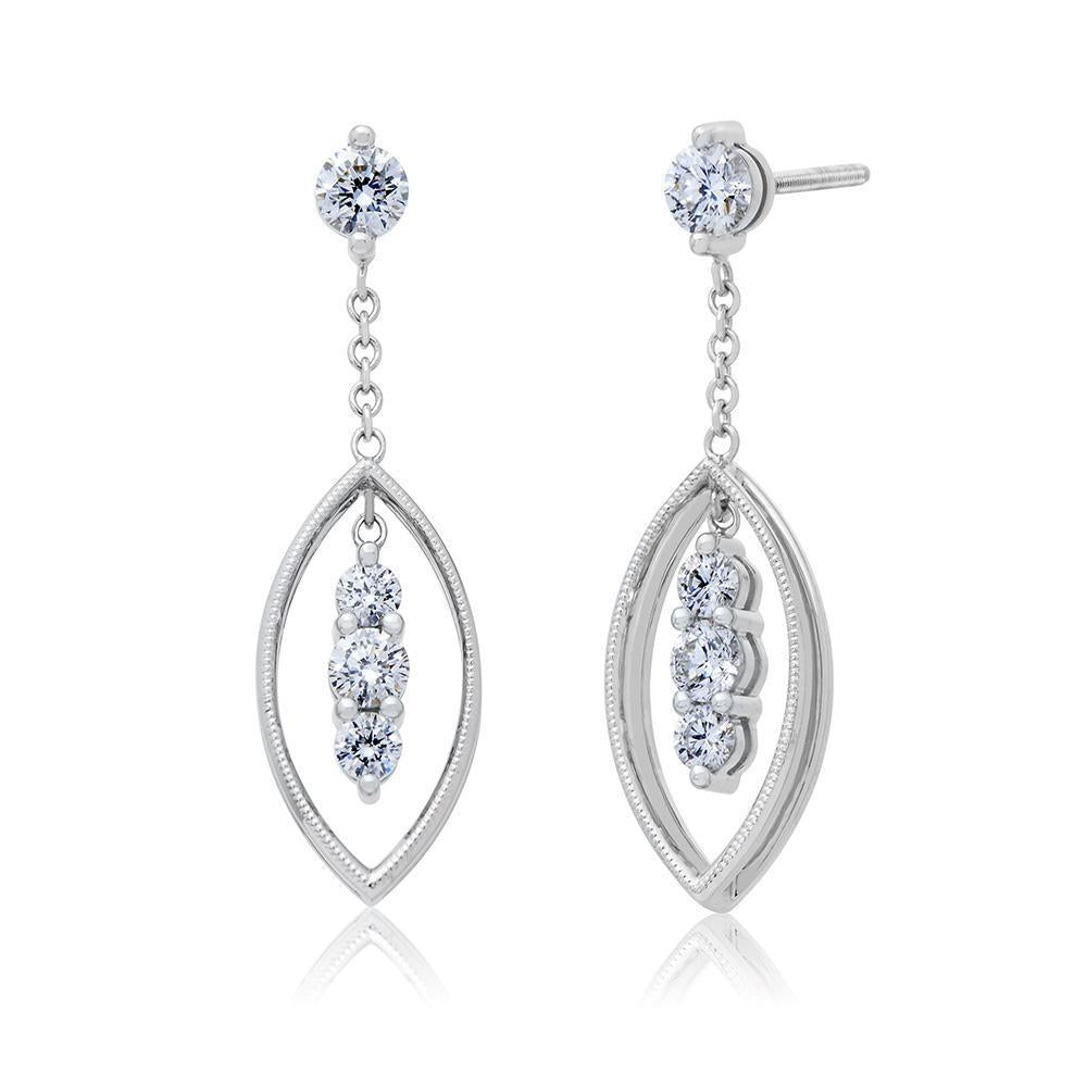 Pas de Trois Diamond Dangle Earrings in 14K Gold