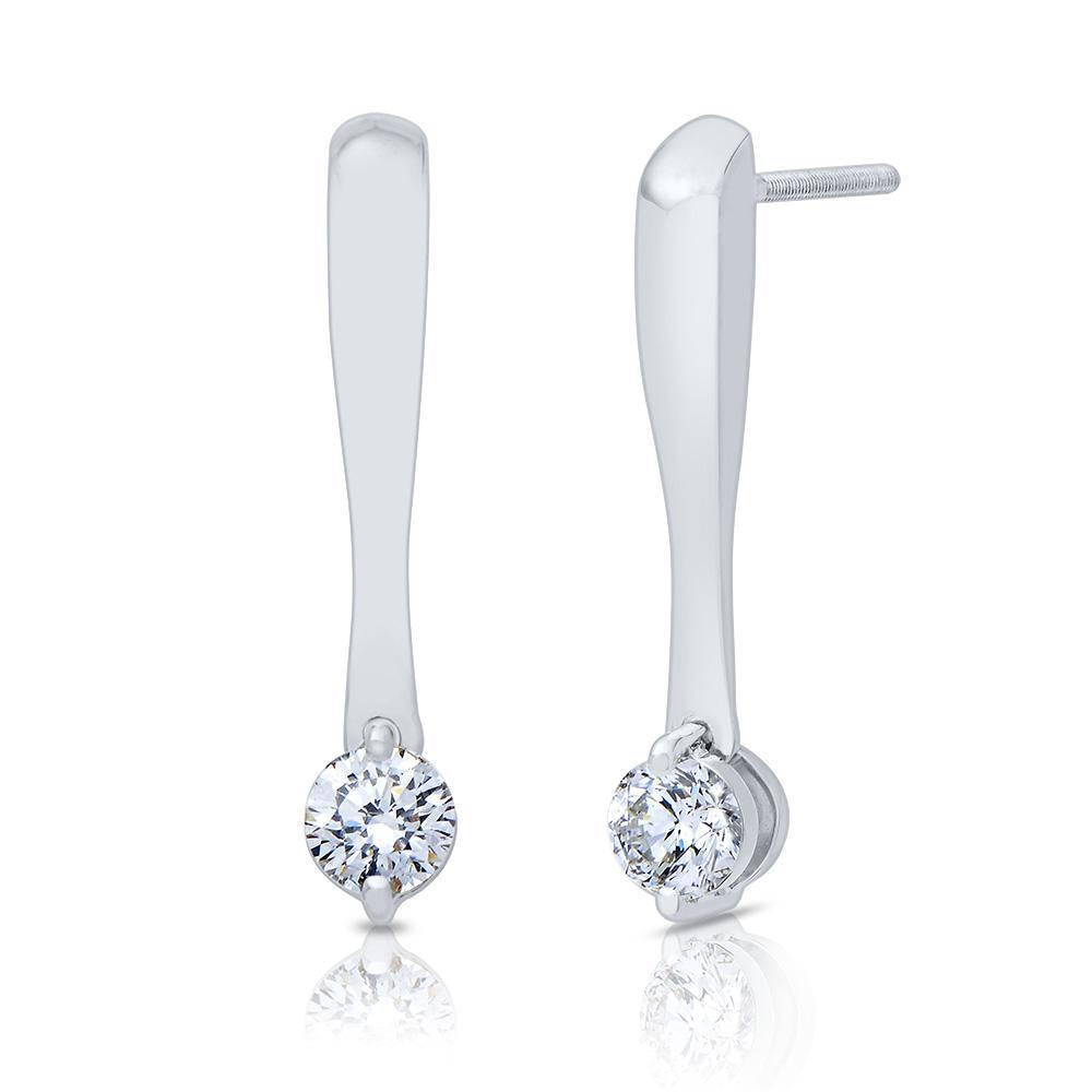 Lys Diamond Drop Stud Earrings in 14K White Gold