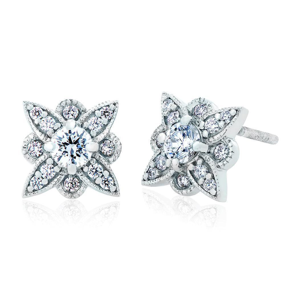 Etoile Diamond Stud Earrings in 14K Gold