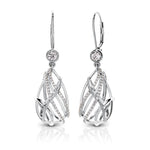 Tendance Diamond Caged Teardrop Drop Earrings in 14K Gold