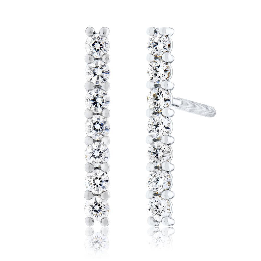 Classique Diamond Bar Stud Earrings in 14K Gold