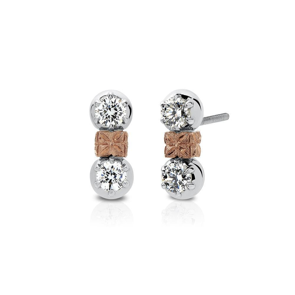 Florette Diamond Drop Stud Earrings in 14K White, Yellow & Rose Gold